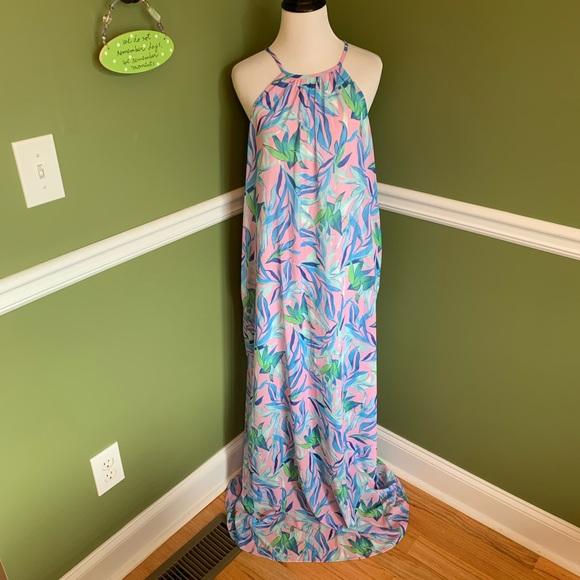 Shophopes floral leaf print summer maxi dress